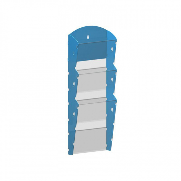 Nástěnný plastový zásobník na prospekty - 1 x 3 A5, modrý