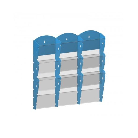 Nástěnný plastový zásobník na prospekty - 3 x 3 A5, modrý
