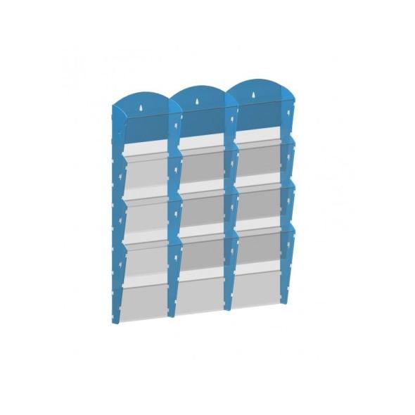 Nástěnný plastový zásobník na prospekty - 3 x 4 A5, modrý