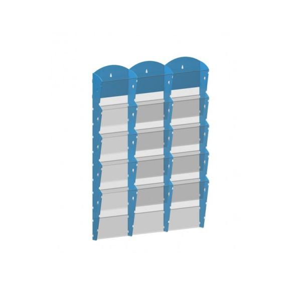 Nástěnný plastový zásobník na prospekty - 3 x 5 A5, modrý