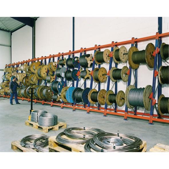 Regály na kabelové bubny, 4400 x 1100 x 1100 mm, přístavný