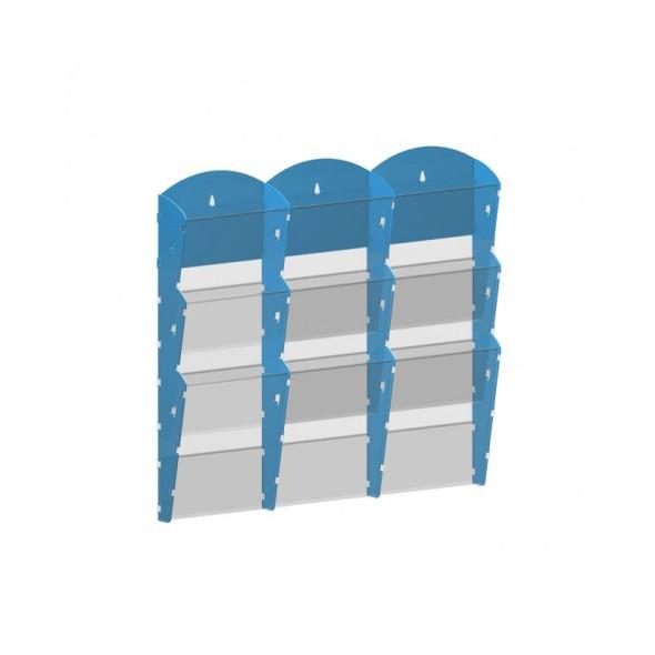 Nástěnný plastový zásobník na prospekty - 3 x 3 A4, šedý