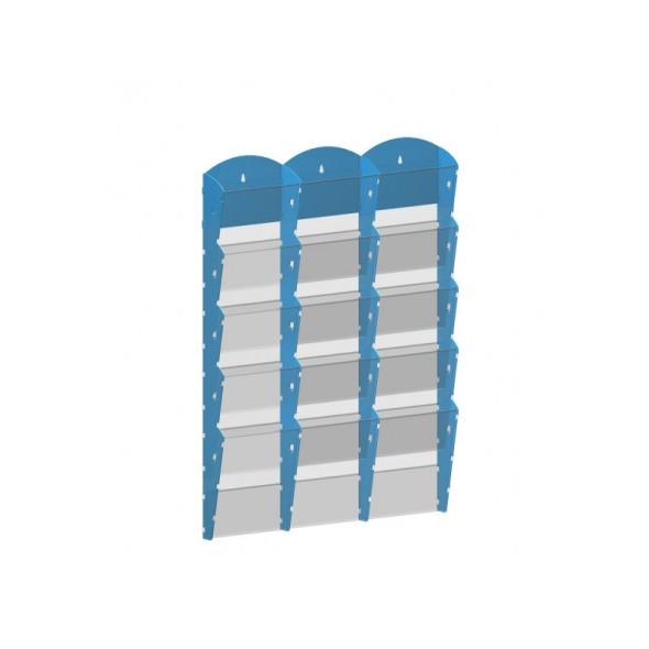 Nástěnný plastový zásobník na prospekty - 3 x 5 A4, šedý