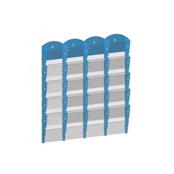 Nástěnný plastový zásobník na prospekty - 4 x 5 A4, šedý