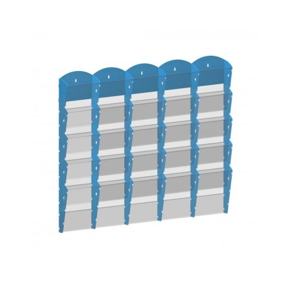 Nástěnný plastový zásobník na prospekty - 5 x 5 A4, šedý
