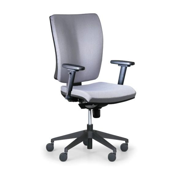 Kancelářská židle LEON PLUS, šedá, s područkami