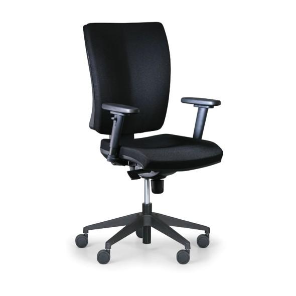 Kancelářská židle LEON PLUS, černá, s područkami
