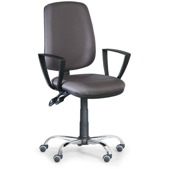 Kancelářská židle ATHEUS s područkami, kovový kříž, šedá