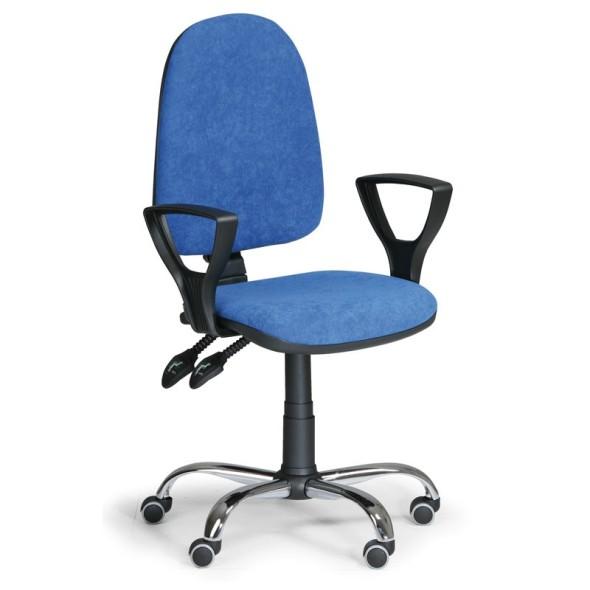 Kancelářská židle TORINO s područkami, synchronní mechanika, modrá