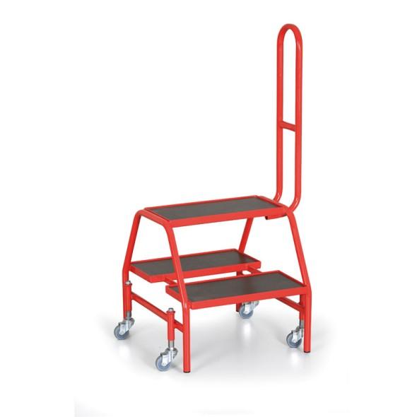 Ocelové mobilní schůdky s opěrnou rukojetí, 4 odpružená kolečka, výška plošiny 46 cm