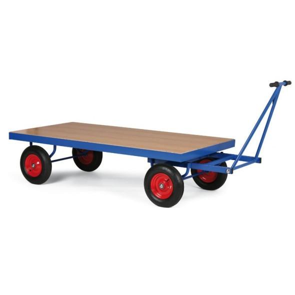 Plošinový vozík s ojí, plošina 1600x800 mm, dušová kola