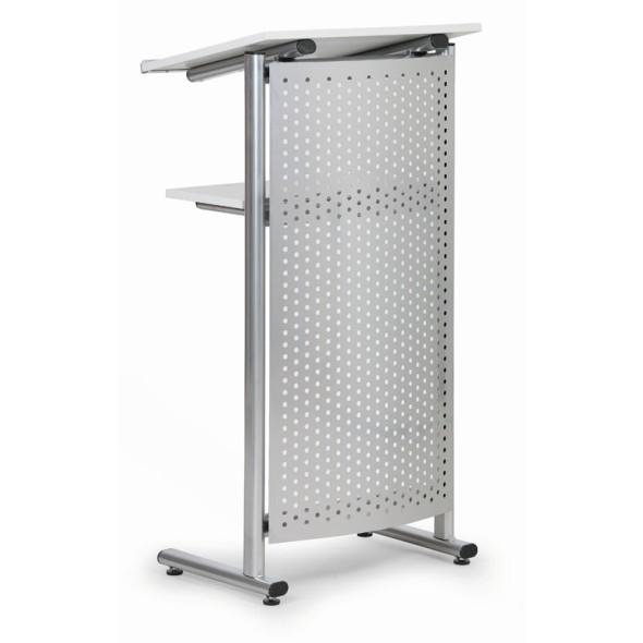 Řečnický pult, šedý + plechový čelní panel