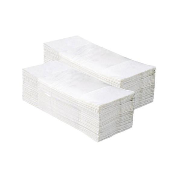 Skládané papírové ručníky, dvouvrstvé, bílé
