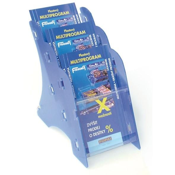 Stolní plastový stojan na prospekty, 3 x A5, modrý