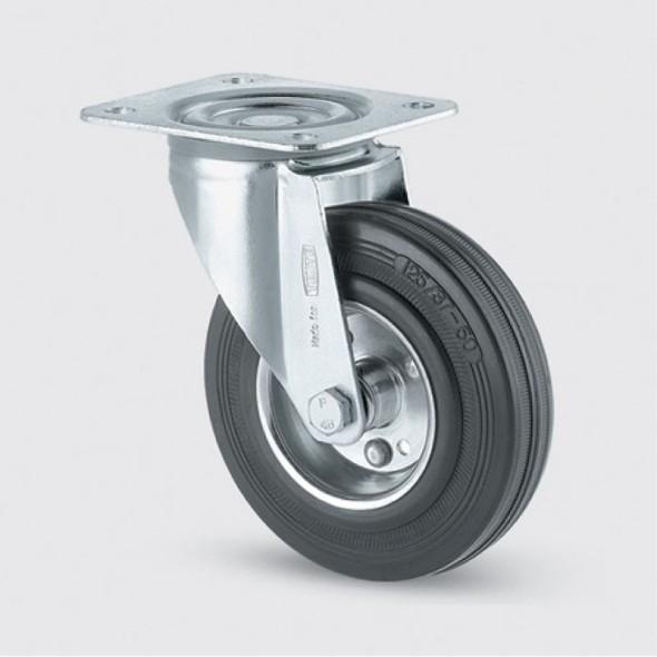 Transportní kolečko 125 mm, otočné, černá guma
