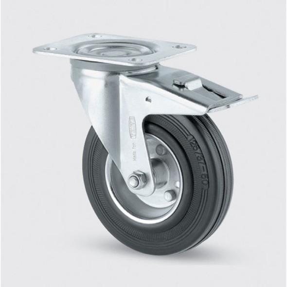 Transportní kolečko 125 mm, otočné s brzdou, černá guma