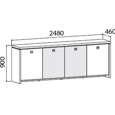 Čtyřdveřové kancelářská skříň ASSIST, 2480 x 460 x 900 mm, ořech