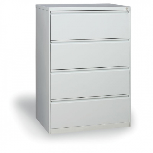 Dvouřadá kovová kartotéka A4, 4 zásuvky, šedá