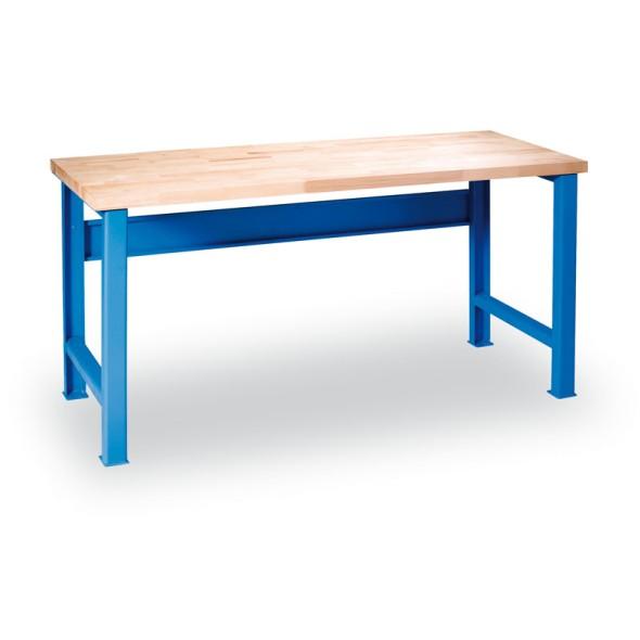 Dílenský stůl GÜDE s pevným podnožím, 1500 x 685 x 840 mm, modrá