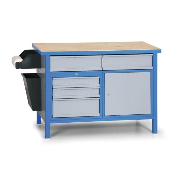 Pracovní stůl GL s uzamykatelnou skříňkou a zásuvkami, modrá/šedá