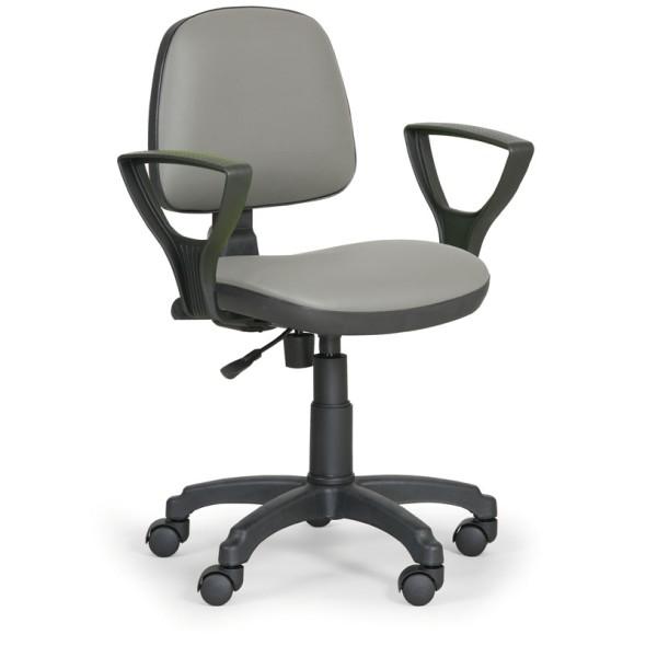 Pracovní židle MILANO s područkami, permanentní kontakt, šedá