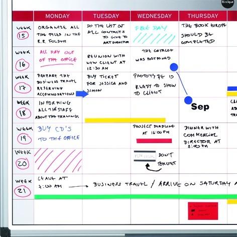 Týdenní plánovací tabule, magnetická, 60x45 cm