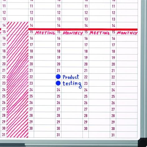 Roční plánovací tabule, dny, 90x60 cm