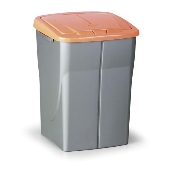 Plastový odpadkový koš s víkem 45 l, oranžové víko