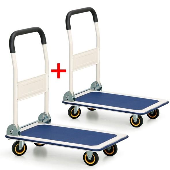 Składany wózek platformowy 1+1 GRATIS, 200 kg, platforma 735x480 mm