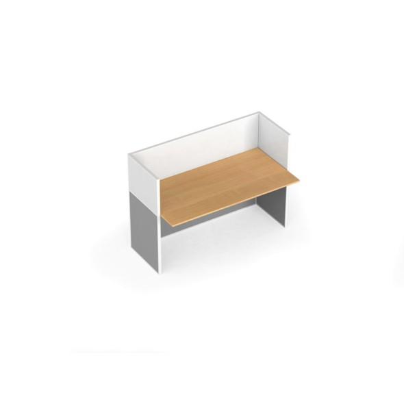 Zestaw parawanów biurowych ze stołem prostym, magnetyczny, 1 miejsce, brzoza