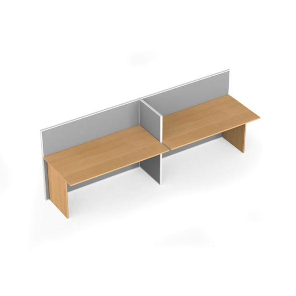 Zestaw parawanów biurowych z prostym stołem, tekstylny, 2 miejsca, brzoza