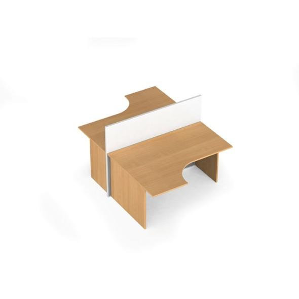 Zestaw parawanów biurowych ze stołem ergonomicznym, magnetyczny 2 miejsca, brzoza