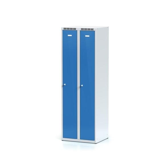 Metalowa szafka ubraniowa, niebieskie drzwi, zamek cylindryczny