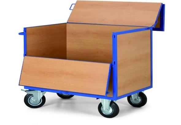 Wózek skrzynkowy z drewnianymi ścianami i pokrywką