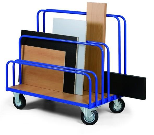Wózek do transportu płyt, 1200x800 mm, pełne gumowe koła, nośność 500 kg