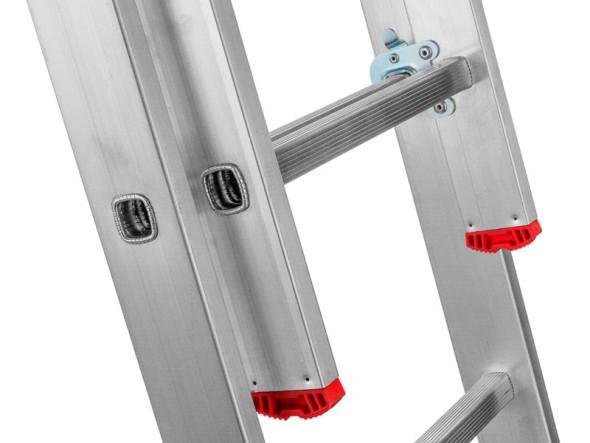 Trzyczęściowa aluminiowa drabina HOBBY, 3x7 stopni, 4,24 m