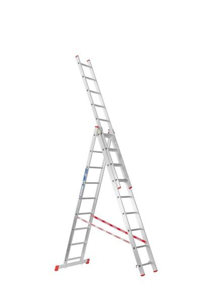 Trzyczęściowa aluminiowa drabina HOBBY, 3x9 stopni, 5,36 m