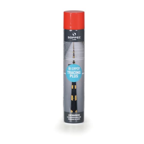 Farba w sprayu TRACING PLUS do malowania linii i pasów, 750 ml, czerwona