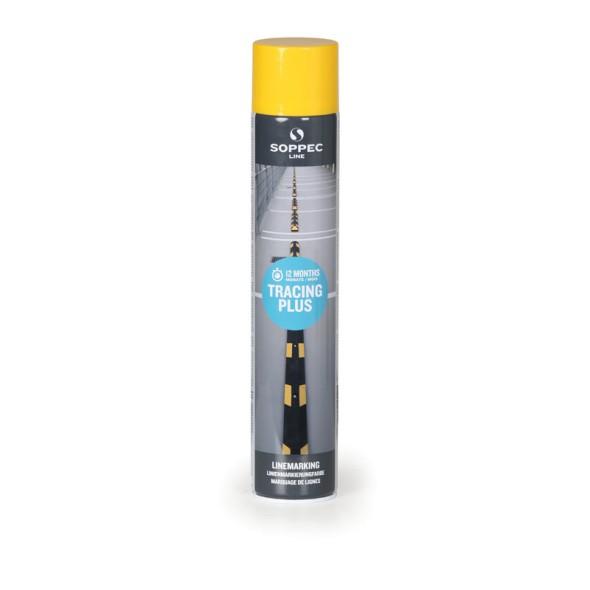 Farba w sprayu TRACING PLUS do malowania linii i pasów, 750 ml, żółta