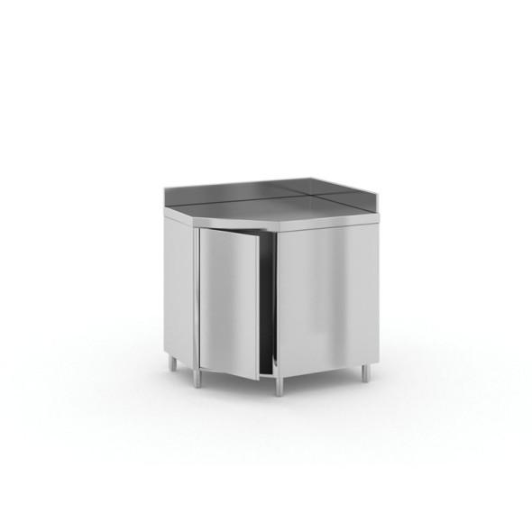 Narożny stół ze stali nierdzewnej z szafką, 900x600x850 mm