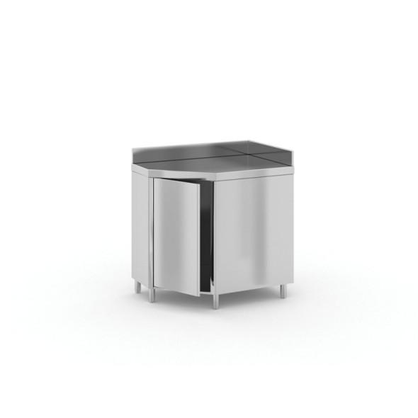 Narożny stół ze stali nierdzewnej z szafką, 900x700x850 mm