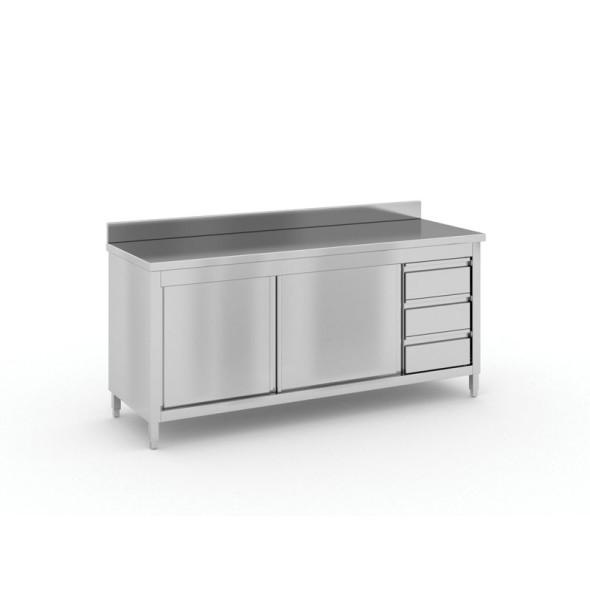 Stół roboczy ze stali nierdzewnej z szafką i szufladami, 1800x600x850 mm