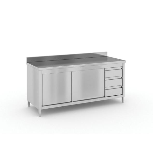 Stół roboczy ze stali nierdzewnej z szafką i szufladami, 1800x700x850 mm