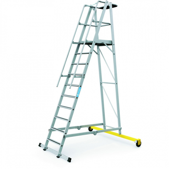 Składana aluminiowa drabina platformowa - 10 stopni, 2,6 m