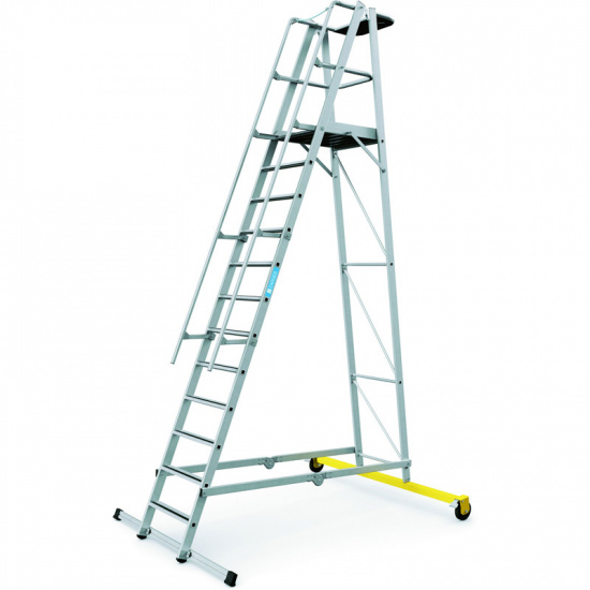 Składana aluminiowa drabina platformowa - 12 stopni, 3,1 m