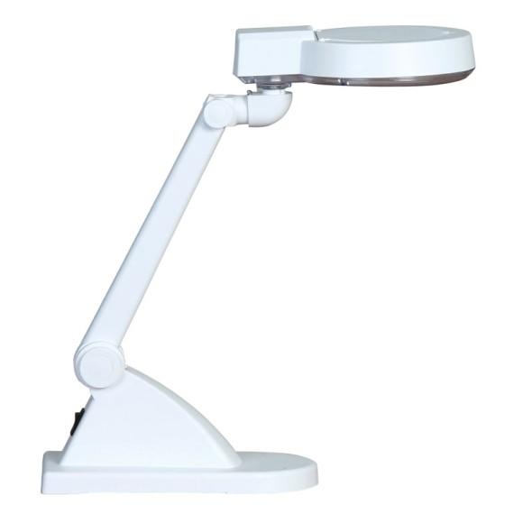 Lampa stołowa z lupą powiększającą, biała
