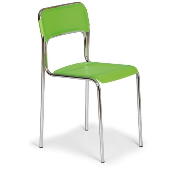 Plastikowe Krzesło Kuchenne Aska Zielony Chromowane Nogi