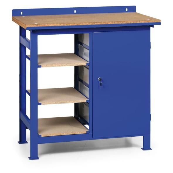 Stół warsztatowy z metalowymi szufladami i półkami