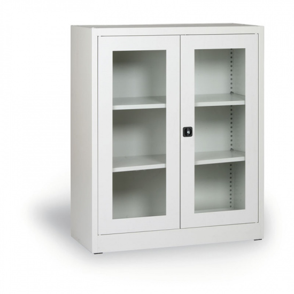 Szafa ze szklanymi drzwiami, 1150 x 920 x 400 mm, szara