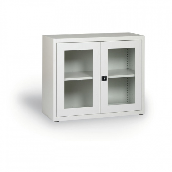 Szafa ze szklanymi drzwiami, 800 x 920 x 400 mm, szara